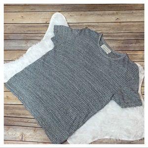 Zara Essentials Linen Blend Striped T Shirt - Gray